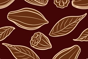 Cocoa beans engraved pattern