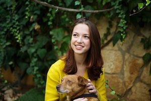 beautiful girl with dog