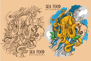 Seafood color illustrations.