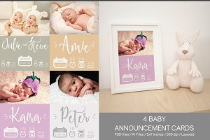 4 Baby Announcement Cards
