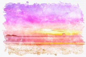 watercolor seascape sunset