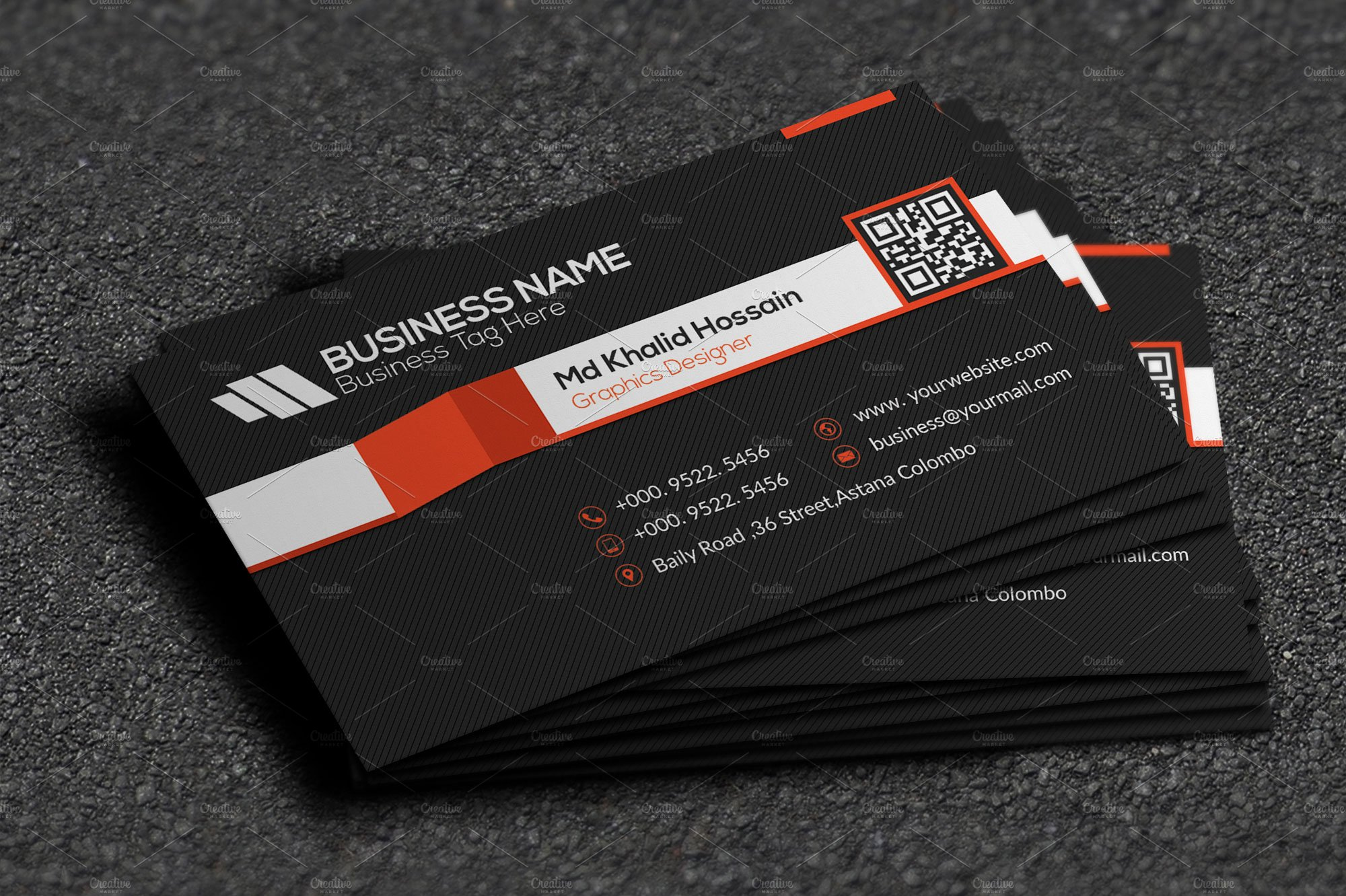 Stripe cool business card business card templates creative market magicingreecefo Images