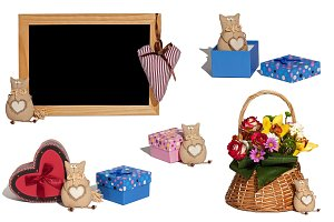 set of photos cat toy, gift boxes