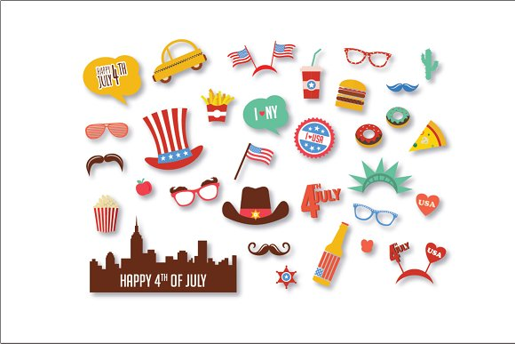 4th Of July Photo Booth Props Graphics Creative Market