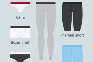 Man underwear vector icons