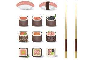 Sushi set vector illustration