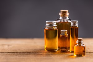 Bottles of essential aroma oil