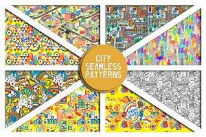 Urban life.Vector Seamless Patterns
