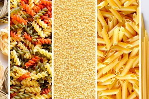 Collage with uncooked pasta texture
