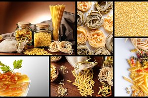 Collage with uncooked pasta