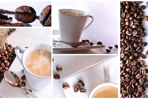 Coffee collage with white background