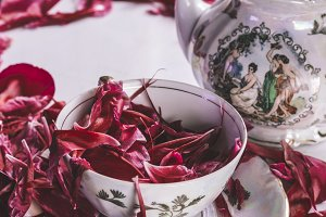 Porcelain tea set with peony petals
