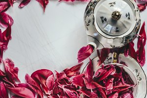 Porcelain tea set with peony petals