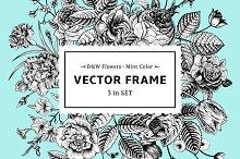 Vector floral frame. B&W, mint color