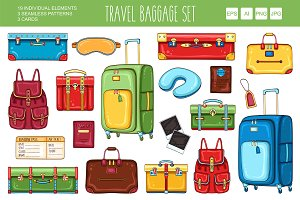 Travel equipment and baggage set