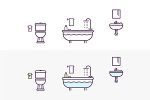 Bathroom Vector Icons Set