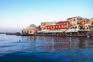 venetian habour and Turkish Mosque Yiali Tzami of Chania