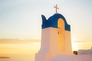white  belfry, Santorini island, Greece