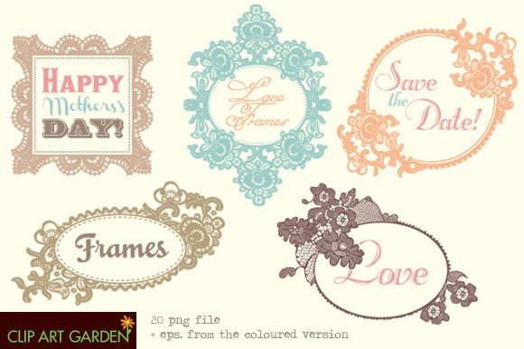 Lace frames in different colours. ~ Graphic Objects ~ Creative Market
