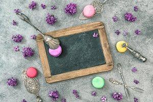 Macaroon cookies Lilac flowers