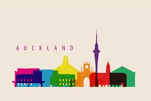 Auckland City Landmarks Illustration