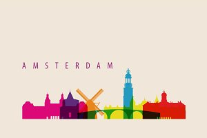 Amsterdam City Skyline Landmarks