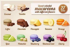 Macaroons with different flavors
