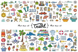 Vector set with travel doodles