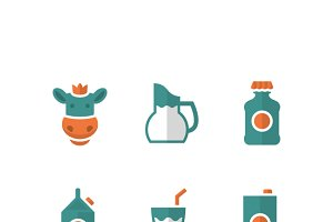 Set flat icons of milk
