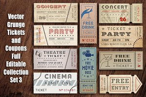 Vector Grunge Tickets and Coupons 3