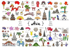 Vector set on the theme of Asia