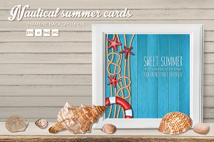Summer nautical cards set