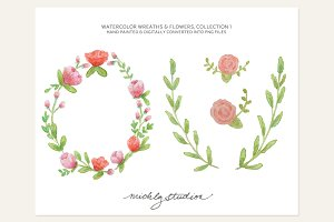 4 PNG Watercolor Wreaths & Flowers