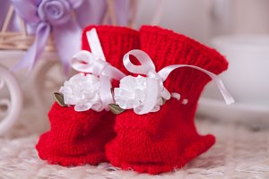 Pair of red booties