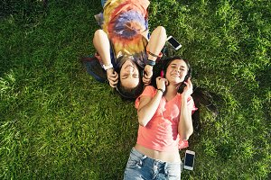 Beautiful Teen Friends in Park.