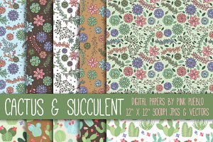 Cactus & Succulent Patterns or Paper