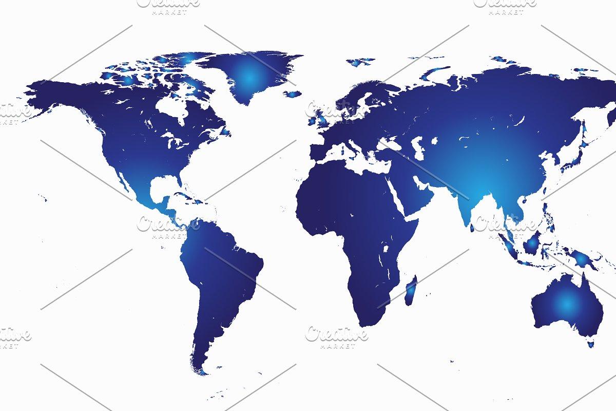 World Map Blue Web Elements Creative Market
