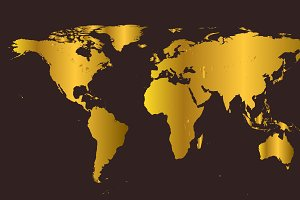 world map gold retro