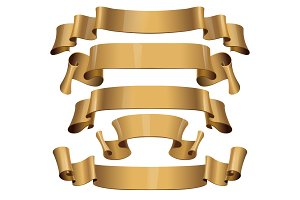 Realistic Gold Glossy vector ribbons
