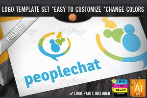 Talking Social Chat People Logo