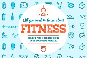 Awesome Fitness Icons and Logo Set 2