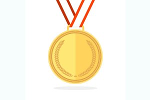 Golden Medal Flat Style. Vector