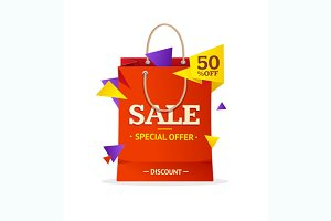 Sale Label Paper Bag. Vector