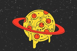 Pizza planet. Vector illustration.