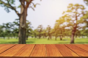 Wood table top on blur tree