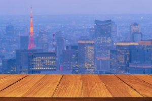 Wood table top on Tokyo city