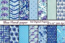 Blue floral digital paper pack