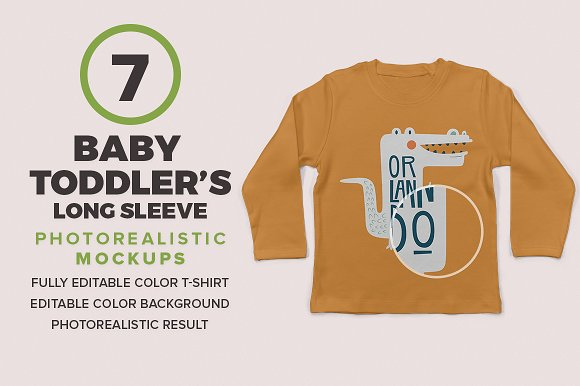 Baby Toddler's Long Sleeve Mockups in Product Mockups