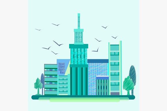 City, birds, trees, houses