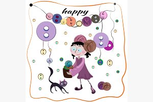 Girl and buttons vector